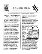 Magic Menu volume 1, number 4 (Mar - Apr 1991) by Jim Sisti