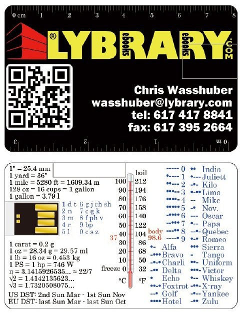 USB flash business card with QR code, morse code, phonetic alphabet, rulers, mnemonic code and unit conversions.