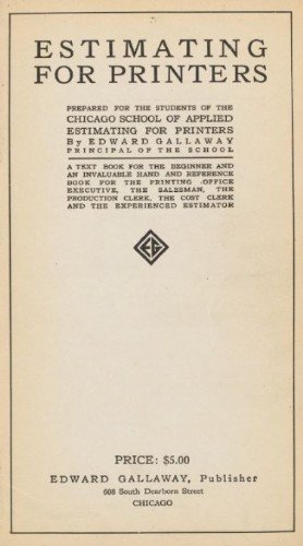 """Estimating for Printers"" title page"