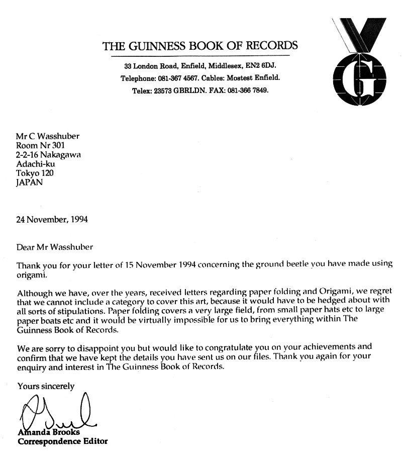 Guinnes Book Letter