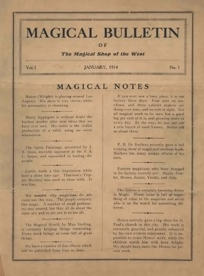 Magical Bulletin Volume 1 (January - June 1914) by Louis F. Christianer & Floyd Gerald Thayer